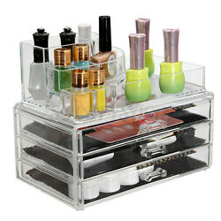 Acrylic Makeup Box Cosmetic Organizer Drawer Holder Clear Jewelry Storage Case $15.99