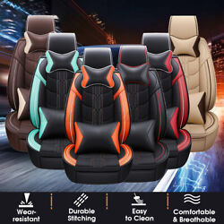 13pcs Universal 5 Seats Car Deluxe Frontandrear Seat Cover Mat Pu Leather+pillow