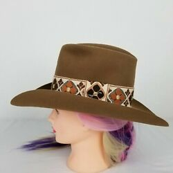 Stetson Western Hat Size 6 7/8 Brown 3 X Beaver Emboirdered Band With Jbs Pin