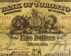 Extremely Rare 1917 Bank Of Toronto 5. Canadian Chartered Banknote.