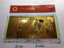 Bruce Lee 2013 Beautiful 100 Gold Banknote 24kt Gold Highlighted Very Cool Coa