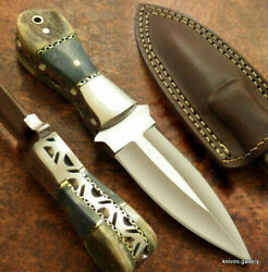 Custom Handmade D2 Steel Hunting Survival Bowie Boot Knife With Sheath