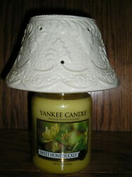White Crackled Jar Candle Shade Fits Large Yankee Jar Candle.