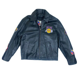 2001 Lakers Mens Size L Leather Patch Jacket Kobe Shaq Back To Back Champs