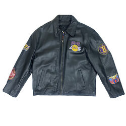 2001 Lakers Mens Size Xl Leather Patch Jacket Kobe Shaq Back To Back Champs