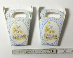 2 Small Antique French Paper Ephemera Baby Favor Or Gift Boxes - Baby Boy