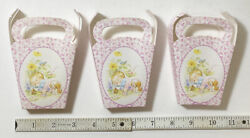 3 Small Antique French Paper Ephemera Baby Favor Or Gift Boxes - Baby Girl