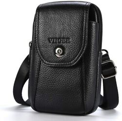 Viiger Leather Small Crossbody Phone Case Cellphone Belt Holster Dual Black