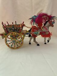 Vintage Sicilian Horse Mule Cart - Made In Italy Dist. By Ferrara Nyc Ny
