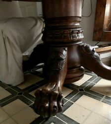 Antique 70andrdquo Carved Oak Hastings Dining Table With 7 Leaves