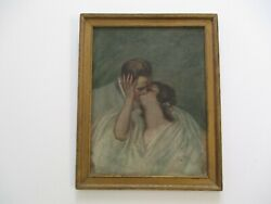 Antique Art Deco P[ainting Portrait Pretty Woman Man 1910and039s Oil On Canvas Framed