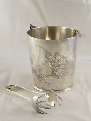 Fantastic Antique Chinese Solid Silver Dragon Ice Bucket And Tongs Tack Hing 584 G