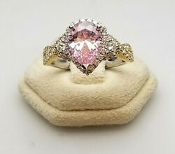 Ladies 18 Karat White And Yellow Gold Ring Center Synthetic And Diamonds Size 6