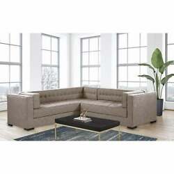 Chic Home Jasper Right Sectional Sofa Pu Leather/linen
