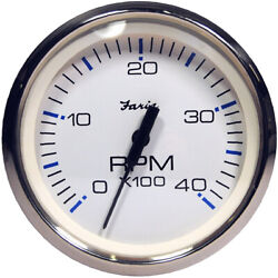 Faria Chesapeake White Ss 4 Tachometer - 4000 Rpm Diesel Magnetic Pick-up