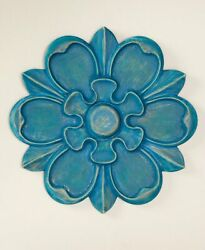 16quot; Wooden Carved Wall Flowers Home Décor Blue Daisy