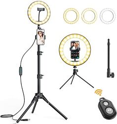 Amada 10 Selfie Ring Light With 65and039and039 Tripod Stand And 3 Phone Holders...
