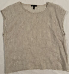 Eileen Fisher Chainette Montage Ramie Snakeskin Ivory Blouse Large
