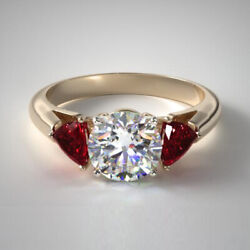 Real Round 14k Yellow Gold Red Ruby Gemstone Beautiful Ring 1.80 Ct Size 6 7 8 9