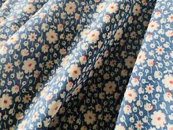 Antique Small Scale Floral Light Cotton Fabric - Chambray Blue Red -dolls Blouse