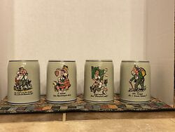 Vintage German Stoneware Four Beer Steins Cared For And Gently Handled