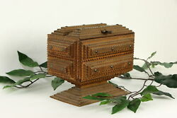 Tramp Or Folk Art Antique Jewelry Chest Made From Cigar Boxes 36722