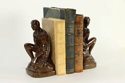 Pair Of Native American Vintage Bronze Finish Metal Bookends 37147