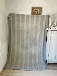 Antique French Gray Fabric Ticking Tick Material Damask Weave