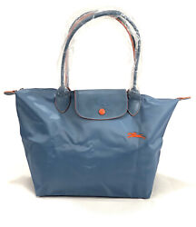 New Longchamp Le Pliage Club Tote Bag Grey- Blue 1899 Made In France