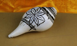 Wonderful 1700s Old Antique Tibet Buddhism Carved Lotus Shell Conch Horn Trumpet