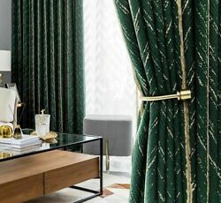 Nordic Luxury Dark Green Striped Curtains For Living Room White Wave Tulle Beads