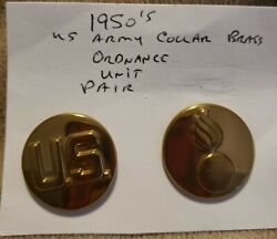 1950and039s Us Army Collar Brass Ordnance Unit Pair. Pre-owned