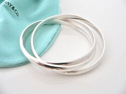 And Co Silver Triple Rolling Interlocking Bracelet Bangle Rare Gift Pouch
