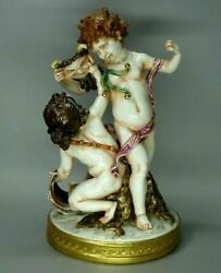 Antique Volkstedt Germany Porcelain Figurine Boy And Girl Playing Mask Rare 1870