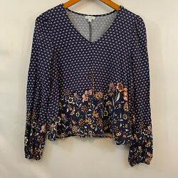 Love Fire Womens Blue Floral V Neck Long Sleeve Rayon Blouse Top Size Medium