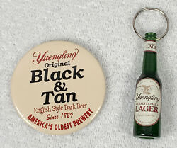 Yuengling Beer Black And Tan Pin Back And Lager Bottle Opener Keychain Oldest Brewer