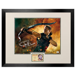 Jeremy Renner Autographed The Avengers Hawkeye 11x14 Framed Action Photo