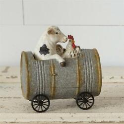 Primitive Cow And Chicken Duo Riding In Can -- Farmhouse, Country Figurine
