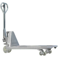 Galvanized Hand Pallet Truck Capacity 4400 Lbs, Fork Size 48 X 27