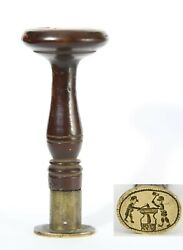 Antique 18th C Wax Seal Stamp Black Gold Silver Smith On Anvil Initials J. W.