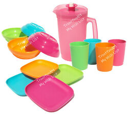 Tupperware Childrenand039s Mini Party Plates Tumblers Bowls Pitcher Pink Green Orange