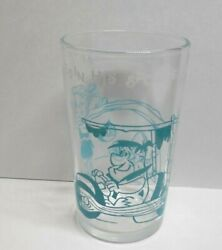 Vintage 1962 Flintstones Jelly Glass Fred In His Sports Car Teal