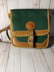 Vintage Green and Tan Leather Dooney amp; Bourke Cross Body Purse $25.00