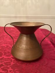 Vintage Copper Handled Hammered Spittoon Container-bowl 4.1/2andrdquo