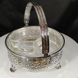 Vtg Viking Footed Silver-plate Relish Or Nut Dish Divided Glass Tray W Handle