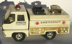 1966 Structo Emergency Rescue Squad Truck Pressed Steel Utility White Nice
