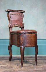Early 19th Century French Leather Desk Chair Antique Industrial Curio