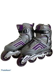 Mongoose Ledge 2.1 Inline Skates Sizes 6/7.5 Grey And Purple Used With Box