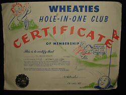 Vintage 1948 Wheaties Cereal Hole-in-one Club Golf Certificate Studebaker Course