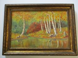 Antique 1910's Early American Plein Air Landscape Painting Stoddard Woods